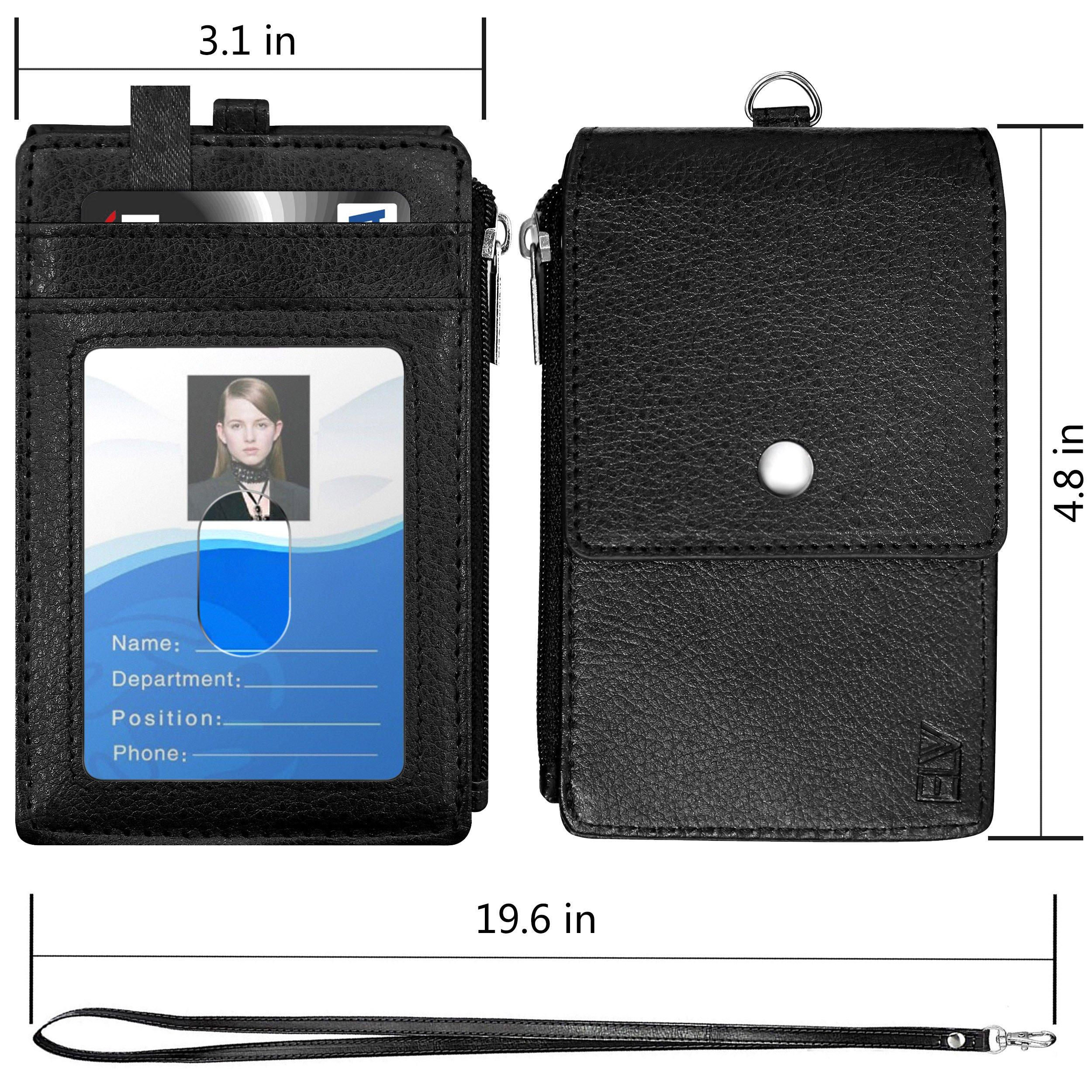 Badge Holder with Zipper ELV PU Leather ID Badge Card Holder Wallet with 5 Card