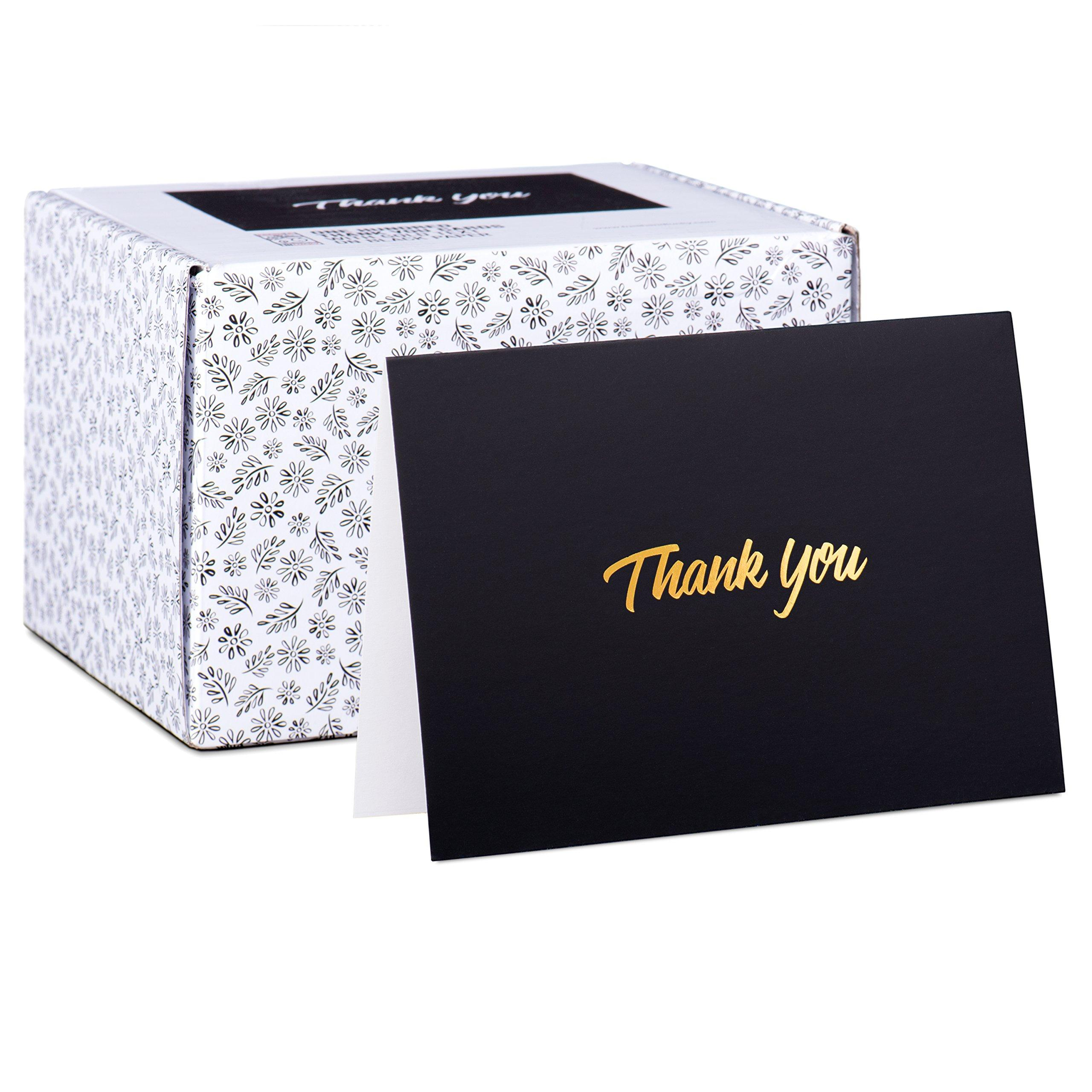 cded471316eba Details about 100 Thank You Cards - Black Bulk Note Cards with Gold Foil  Embossed Letters -
