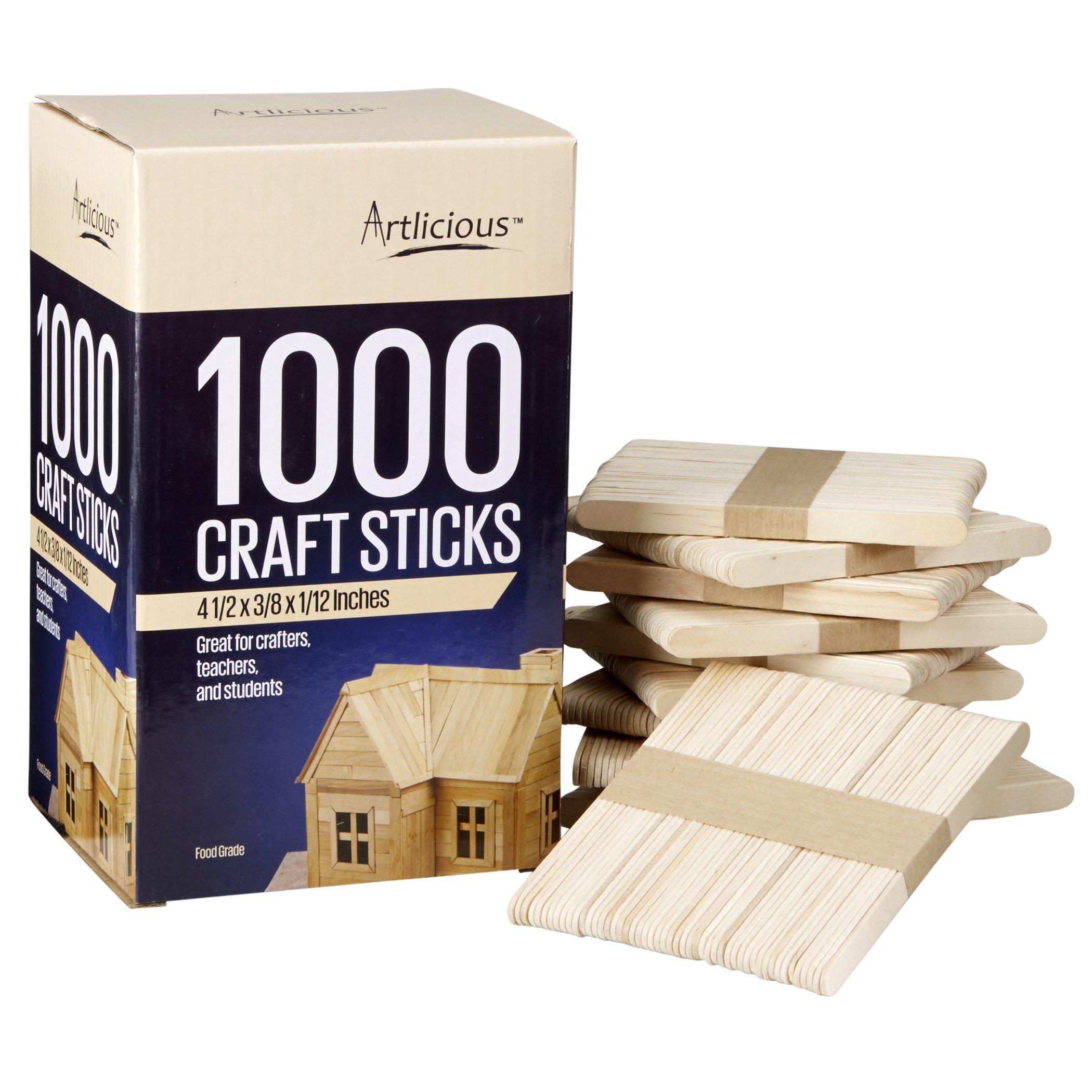 Details About Artlicious Natural Wooden Food Grade Popsicle Craft Sticks 1000 Sticks