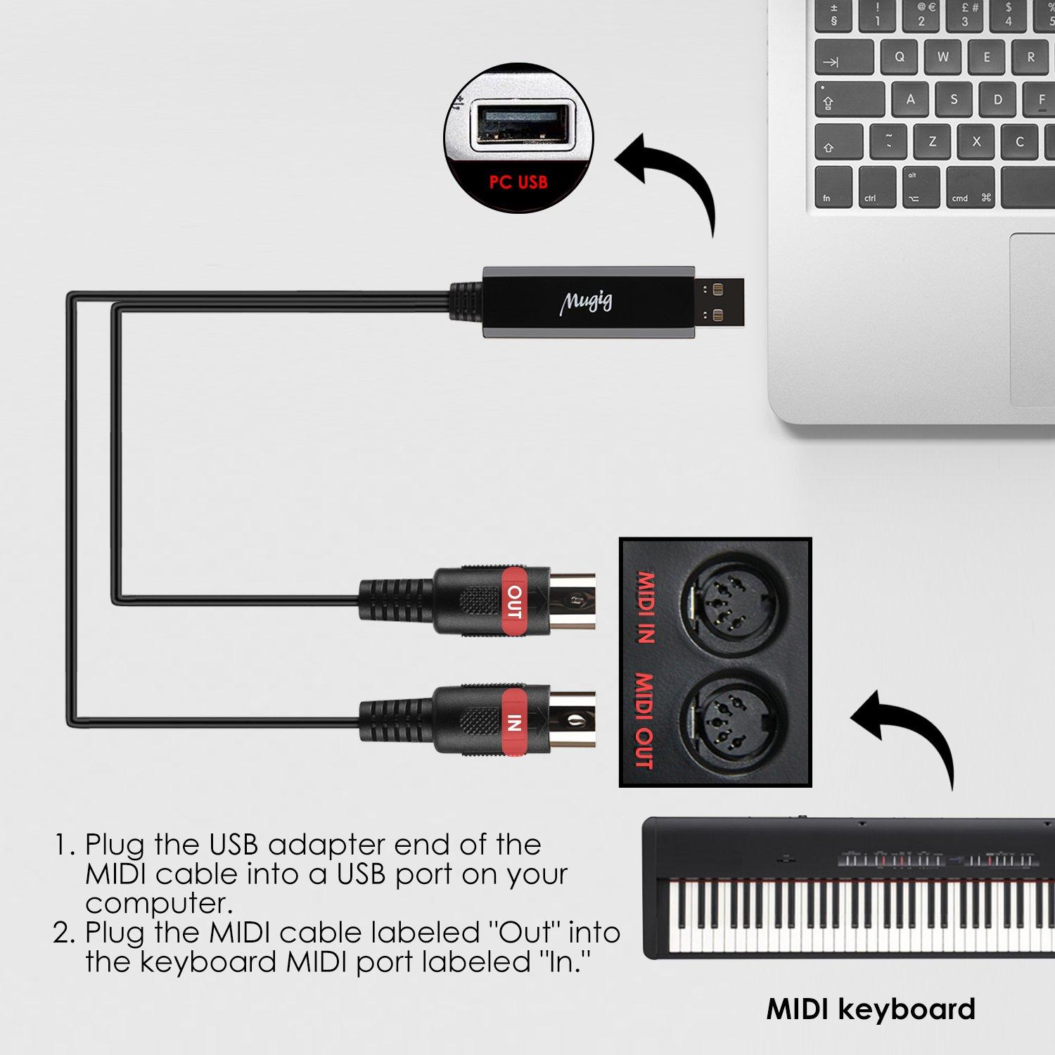 mugig midi cable in out midi to usb interface cable ftp chip 5 pin no need 607994057623 ebay. Black Bedroom Furniture Sets. Home Design Ideas