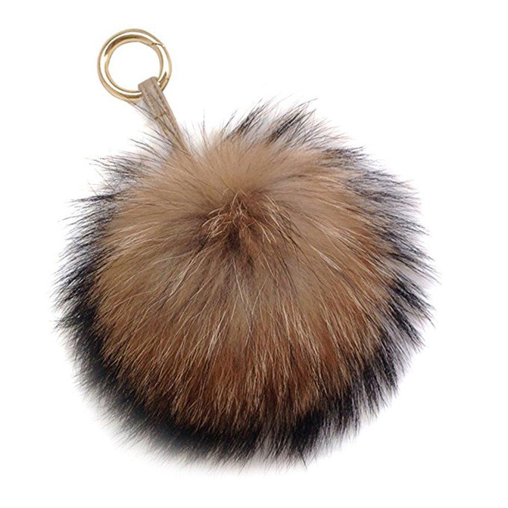6-034-Large-Genuine-Fur-Pom-Pom-Puff-Ball-Car-Keyring-Bag-Purse-Charm-Natural