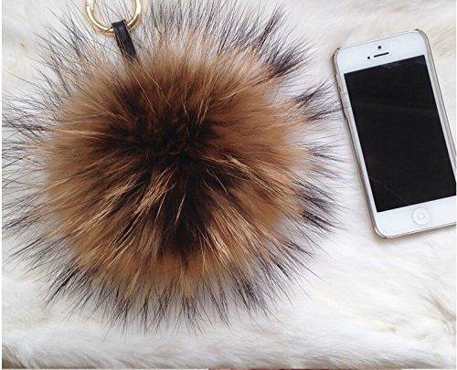 6-034-Large-Genuine-Fur-Pom-Pom-Puff-Ball-Car-Keyring-Bag-Purse-Charm-Natural thumbnail 3