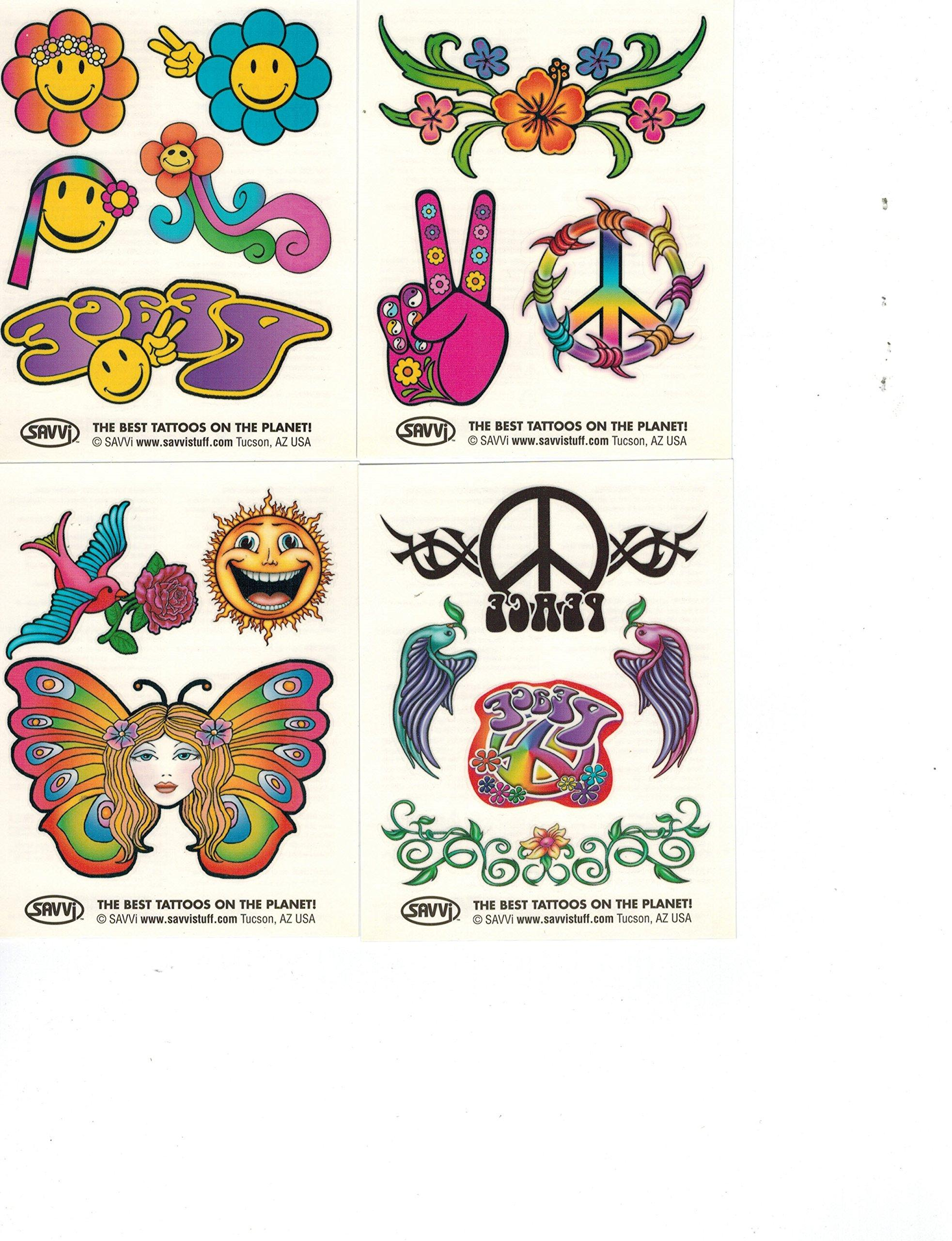 Hippie Temporary Tattoos Party Favor and Costume Set (50 Love and ...