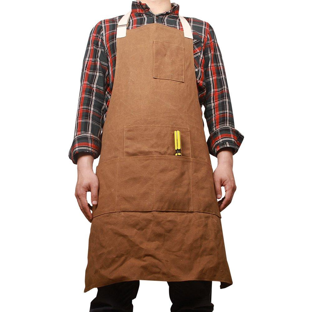 details about waterproof work shop apron for men, heavy duty waxed canvas  woodworking tool