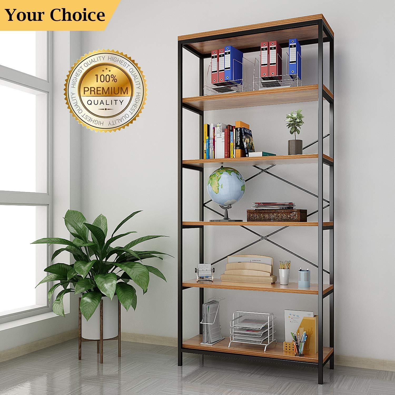 WOOD BOOKCASE Adjustable 5 Shelf Bookshelf Storage Wide ...