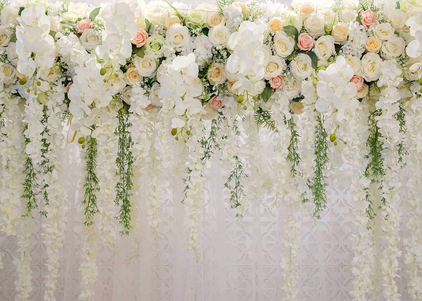 Details About White 3d Rose Floral Photo Backdrops Bridal Shower Large Wedding Flowers Wall