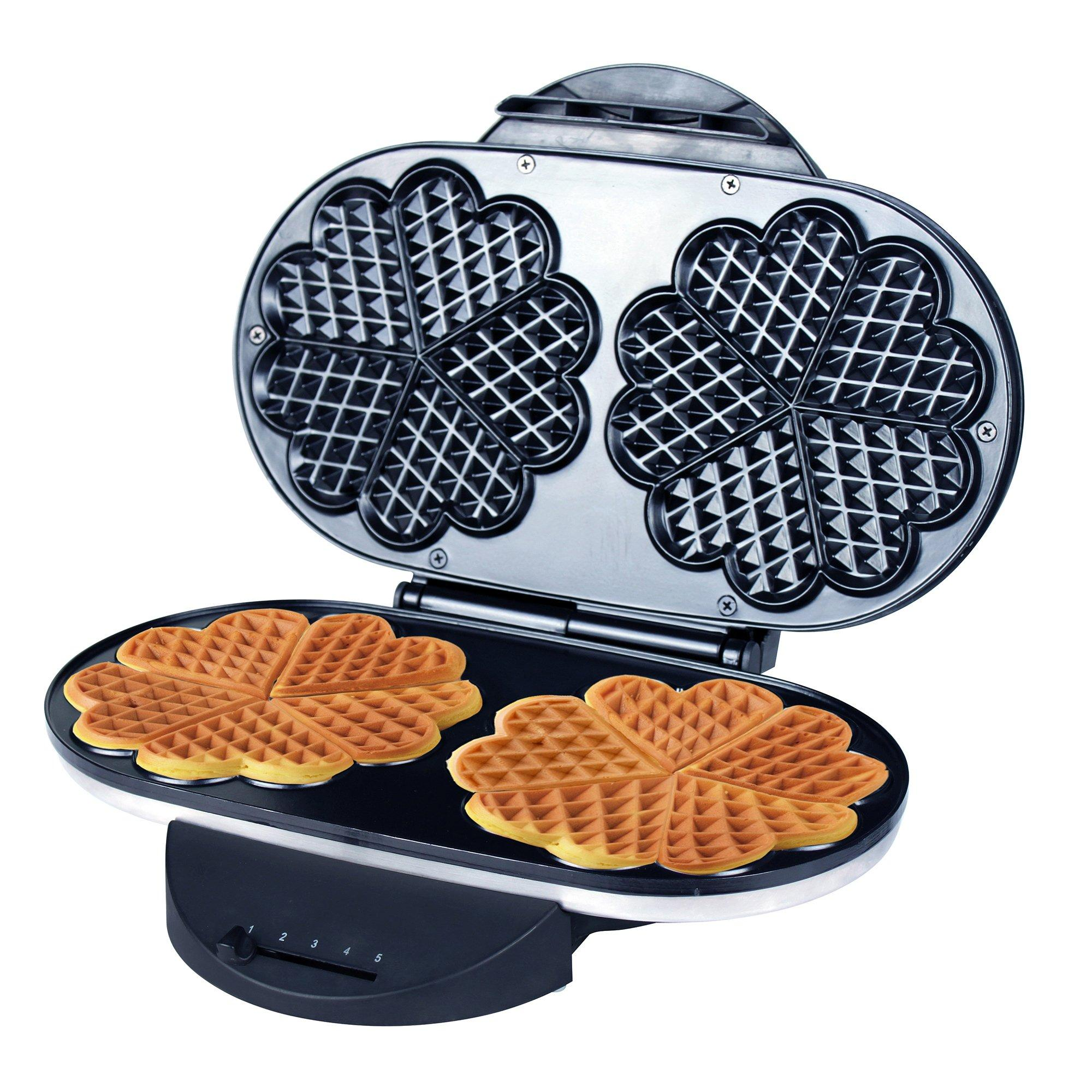 Zz Heart Waffle Maker With Non Stick Plate 1200w Black Silver Ebay